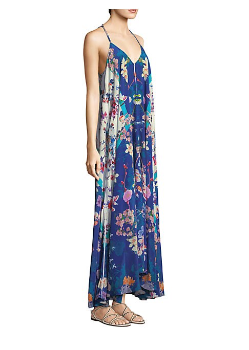 """Image of Silk crepe maxi dress in colorful floral print.V-neck. Sleeveless. Self-tie at back. Pullover style. About 46"""" from shoulder to hem. Silk. Dry clean. Imported. Model shown is 5'10"""" (177cm) wearing size Small."""