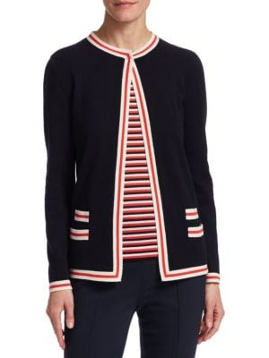BARBARA LOHMANN Flo Open Cashmere Cardigan in Navy Red