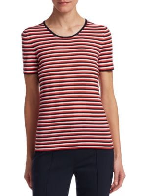 BARBARA LOHMANN Nixe Stripe Knit Tee in Red Navy