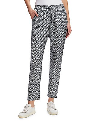 Image of Geometric print adorns silk pants Elasticized drawstring waist Rise, about 11 Inseam, about 27 Silk Dry clean Imported Model shown is 5'10 (177cm) wearing size Small. Designer Lifest - Designer Lifestyle Sport. Barbara Lohmann. Color: Zigzag. Size: XL.