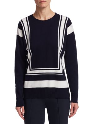 "Image of Colorblock stripes adorn sweater. Roundneck. Long sleeves. Rib-knit at neck, cuffs and hem. Pullover style. About 25"" from shoulder to hem. Cashmere/silk. Dry clean. Made in Italy. Model shown is 5'10"" (177cm) wearing US size 4."