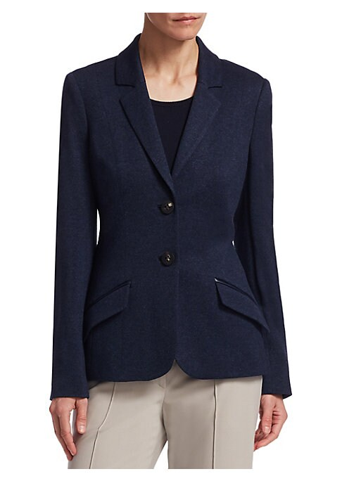 "Image of Luxurious blazer crafted from fine fabric. Notch lapels. Long sleeves. Button front. Waist flap pockets. Lined. About 25.5"" from shoulder to hem. Silk/cashmere. Dry clean. Imported. Model shown is 5'10"" (177cm) wearing US size 4."