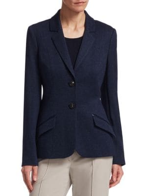 "Image of Luxurious blazer crafted from silk and cashmere. Notch lapels. Long sleeves. Button front. Waist flap pockets. Silk and lycra lining. About 25.5"" from shoulder to hem. Silk/cashmere. Dry clean. Imported. Model shown is 5'10"" (177cm) wearing US size 4."