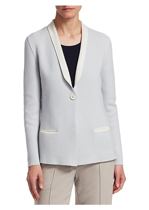 "Image of Deluxe blazer crafted from cashmere. Shawl collar. Long sleeves. Button front. Waist welt pockets. Lined. About 26"" from shoulder to hem. Cashmere. Dry clean. Made in Italy. Model shown is 5'10"" (177cm) wearing size 4."