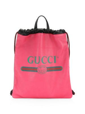 Logo Leather Drawstring Bag by Gucci