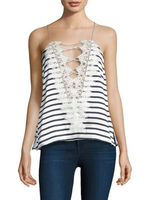 "Image of Reversible striped silk top with lace-up back detail. Squareneck. Sleeveless. Pullover style. Reversible. About 25"" from shoulder to hem. Silk. Dry clean. Imported. Model shown is 5'10"" (177cm) and wearing US size Small."