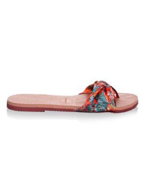 HAVAIANAS You Saint Tropez Textile Print Cinched Sandals in Crocus Rose