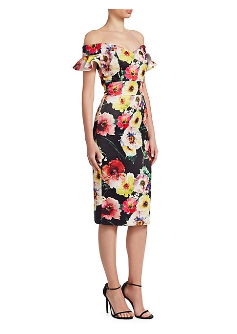 "Image of Colorful floral printed dress in off-the-shoulder style. Off-the-shoulder. V-neck. Short flutter sleeves. Concealed back zip closure. About 40"" from shoulder to hem. Polyester. Dry clean. Imported. Model shown is 5'10"" (177cm) wearing US size 4. ."