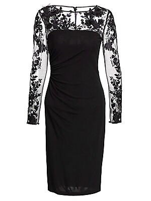 """Image of Fashion-forward sheer dress with floral applique Boatneck Long sleeves Concealed back zip Rayon Dry clean Imported Model shown is 5'10"""" (177cm) wearing US size 4. Dress Collectio - David Meister. David Meister. Color: Black. Size: 12."""