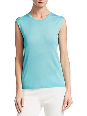 "Image of Minimalist sleeveless top finished in form-fitting silhouette Roundneck Sleeveless Pullover style About 23.2"" from shoulder to hem Cashmere/virgin wool/silk Dry clean Made in Italy Model shown is 5'10"" (177cm) wearing US size 4. Designer Lifest - Designer"