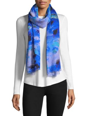 """Image of Watercolor florals adorn luxurious scarf.11""""W x 31.5""""L.Silk/cashmere. Dry clean. Imported."""