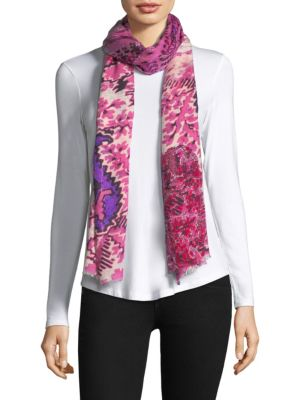 """Image of Striking florals adorn cashmere silk scarf.11""""W x 31.5""""L.Silk/cashmere. Dry clean. Imported."""