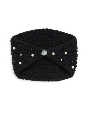 Simulated Faux Pearl Kerchief, Black