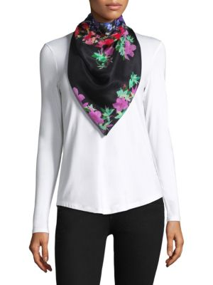 """Image of Striking floral embroidery on scarf.15.7""""W x 15.7""""L.Silk. Dry clean. Imported."""
