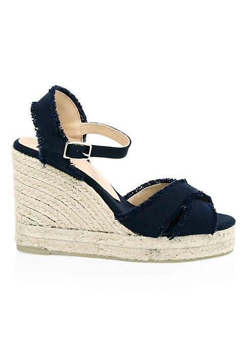 """Image of Chic cotton espadrilles with decorative lace details. Jute wedge heel. Cotton upper. Cotton trim. Round toe. Wedge heel, 4"""" (100mm).Lace-up closure. Leather lining. Rubber sole. Imported."""