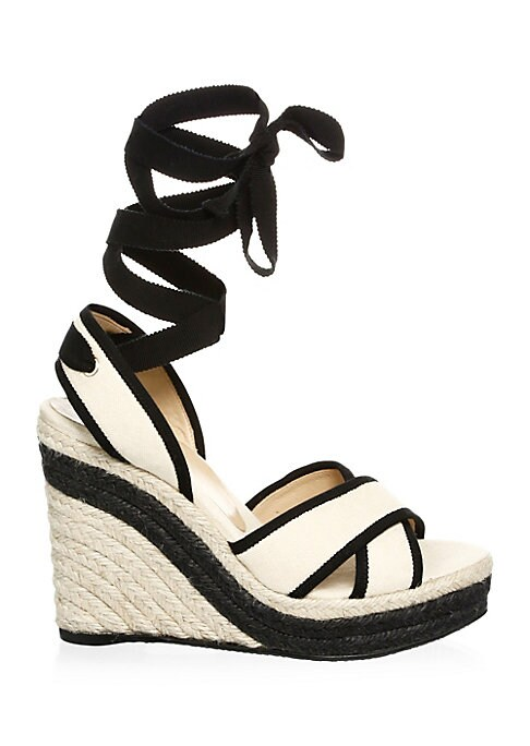 """Image of Chic cotton espadrilles finished with contrasting trim. Jute wedge heel. Cotton upper. Cotton trim. Wedge heel, 4"""" (100mm).Open toe. Lace-up closure. Leather lining. Polyurethane thermoplastic sole. Imported."""