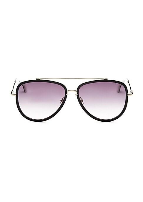 Image of Black rims frame gradient aviator lenses.58mm lens width; 15mm bridge width; 135mm temple length.100% UV protection. Gradient purple lenses. Acetate/stainless steel. Imported.