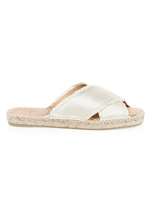 Image of Chic espadrille slides flaunt metallic strap finish. Textile upper. Slip-on style. Open toe. Textile lining. Rubber sole. Made in Spain.