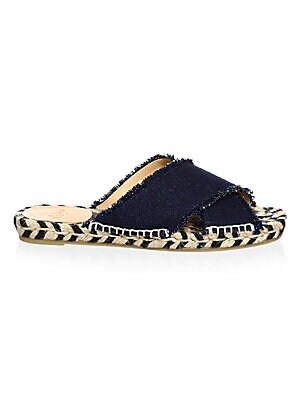 Image of Denim espadrilles elevated with a textured design Jute heel Cotton upper and trim Peep toe Slip-on style Cowhide lining Rubber sole Imported. Women's Shoes - Contemporary Womens Shoe > Saks Fifth Avenue. Castañer. Color: Blue. Size: 35 (5).