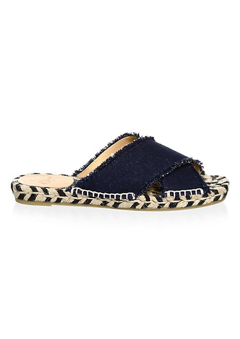 Image of Denim espadrilles elevated with a textured design. Jute heel. Cotton upper and trim. Peep toe. Slip-on style. Cowhide lining. Rubber sole. Imported.