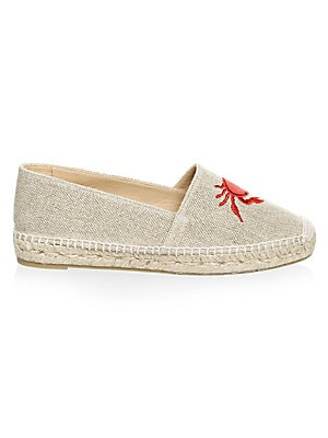 Image of Cotton espadrilles adorned with embroidered crab detail Jute heel Cotton upper and trim Round toe Slip-on style Cowhide lining Rubber sole Imported. Women's Shoes - Contemporary Womens Shoe. Castañer. Color: Natural. Size: 36 (6).