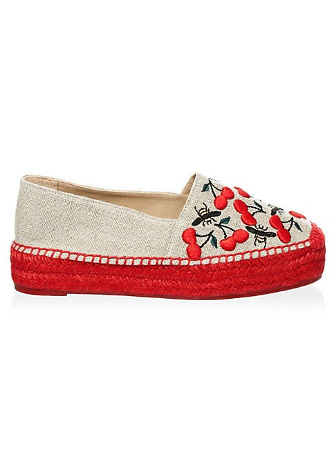 Image of Chic cotton espadrilles finished with embroidered cherries. Jute heel. Cotton upper. Cotton trim. Round toe. Slip-on style. Leather lining. Rubber sole. Imported.