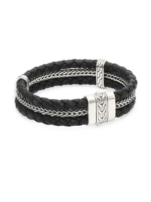 Sterling Silver Classic Chain Triple Row Black Leather Bracelet
