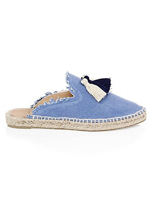Image of Chic canvas espadrilles finished with playful tassels Jute heel Canvas upper Almond toe Slip-on style Rubber sole Imported. Women's Shoes - Contemporary Womens Shoe. Castañer. Color: Azulon. Size: 35 (5).
