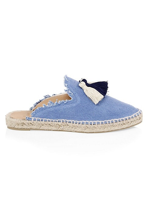 Image of Chic canvas espadrilles finished with playful tassels. Jute heel. Canvas upper. Almond toe. Slip-on style. Rubber sole. Imported.