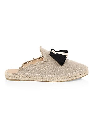 Image of Must-have canvas espadrilles with tassels and fringed edges Canvas upper Round toe Slip-on style Rubber sole Made in Spain. Women's Shoes - Contemporary Womens Shoe > Saks Fifth Avenue. Castañer. Color: Natural. Size: 35 (5).