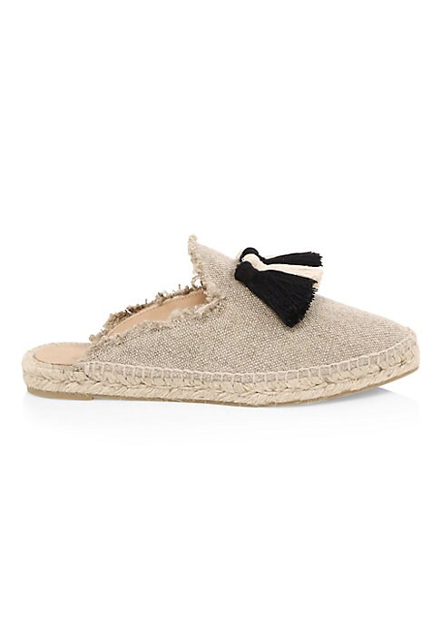 Image of Must-have canvas espadrilles with tassels and fringed edges. Canvas upper. Round toe. Slip-on style. Rubber sole. Made in Spain.