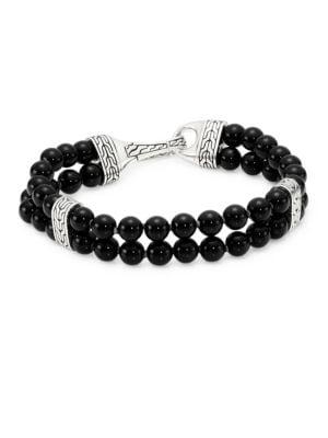 JOHN HARDY Sterling Silver Classic Chain Two-Row Black Onyx Bead Bracelet in Black Onyx/ Silver