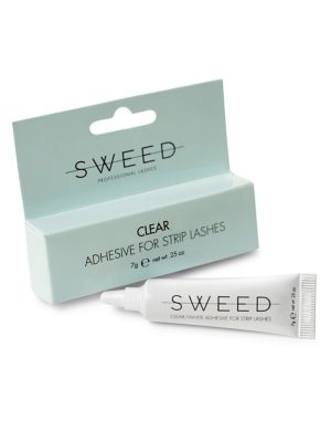 Image of Sweed Lashes Clear Adhesive is an easy to use white/transparent lash adhesive used by both professionals and home users. How to use: Measure and trim the lash strip if necessary. Apply Sweed Lashes adhesive along the band and wait for 30 seconds. Secure t