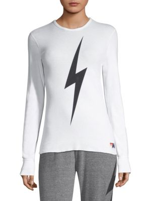 """Image of Athletic long-sleeve in warm thermal with graphic bolt. Crewneck. Long sleeves. Pull-over style. About 24"""" from shoulder to hem. Cotton/polyester. Machine wash. Made in USA. Model shown 5'10"""" (177cm) is wearing a US size small."""