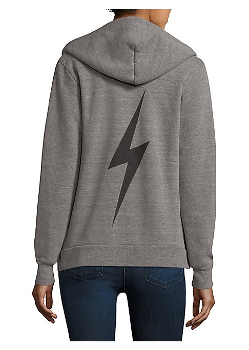 """Image of Comfy cotton hoodie finished with graphic design. Attached drawstring hood. Long sleeves. Banded cuffs and hem. Exposed front zip. Split kangaroo pocket. Cotton. Machine wash. Made in USA. Model shown is 5'10"""" (177cm) wearing a size Small."""