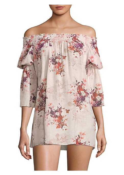 "Image of Soft cotton-blend top with allover floral print. Off-the-shoulder neckline. Three-quarter shirred sleeves. About 30"" from shoulder to hem. Cotton/silk. Hand wash. Imported. Model shown is 5'10"" (177cm) wearing size Small."