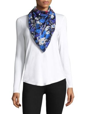 """Image of Vibrant, painterly florals cover diaphanous silk scarf.40""""W x 40""""L.Silk. Dry clean. Imported."""