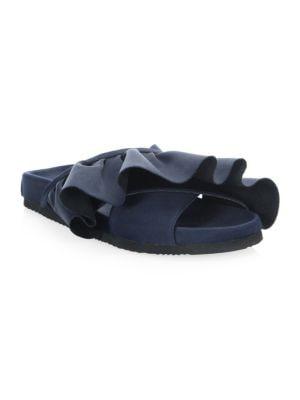 Satin Ruffle Slides in Blue