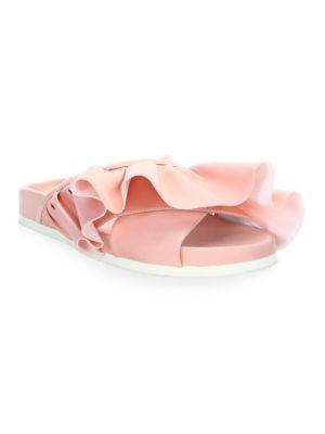 Pink Satin Ruffle Slide Sandals
