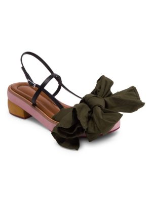 Fabric Bow Wooden Leather Sandals in Khaki