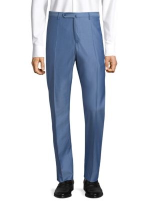"Image of Lustrous tailored trousers with a slim straight fit. Belt loops. Zip fly with button tab closure. On-seam pockets. Back buttoned welt pockets. Front and back seams. Unfinished hems. Rise, about 11"".Inseam, about 34"".Wool. Dry clean. Imported."
