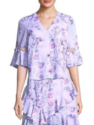 PROSE & POETRY Bonnie Flare V-Neck Top in Lavender