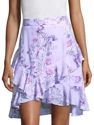 PROSE & POETRY Tessie High-Waist Orchid-Print Skirt in Lavender