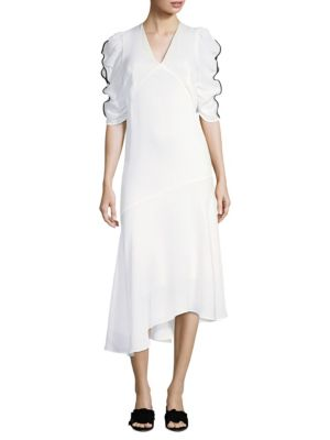 PROSE & POETRY Shirley Tie-Back Asymmetrical Dress in Alabaster