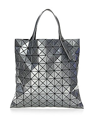 """Image of Basic tote bag in metallic prism pattern Double top handle Interior zip pocket 15.5""""W x 15.5""""H x 1""""D Polyester/nylon/polyurethane Imported. Handbags - Collection Handbags > Saks Fifth Avenue. Bao Bao Issey Miyake. Color: Silver."""
