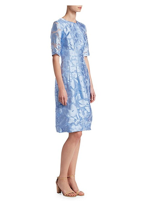 "Image of Floral print punctuates fit-a & flare dress. Crewneck. Elbow-length sleeves. Concealed back zip. Silk lining. About 40"" from shoulder to hem. Polyester/silk. Dry clean. Made in USA of Italian fabric. Model shown is 5'10"" (177cm) wearing US size 4."