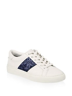 07de1eea547c Tory Burch Carter Glitter Lace-Up Leather Sneakers from Saks Fifth ...