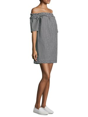 Vineyard Vines Gingham Off-The-Shoulder Ruffle Dress