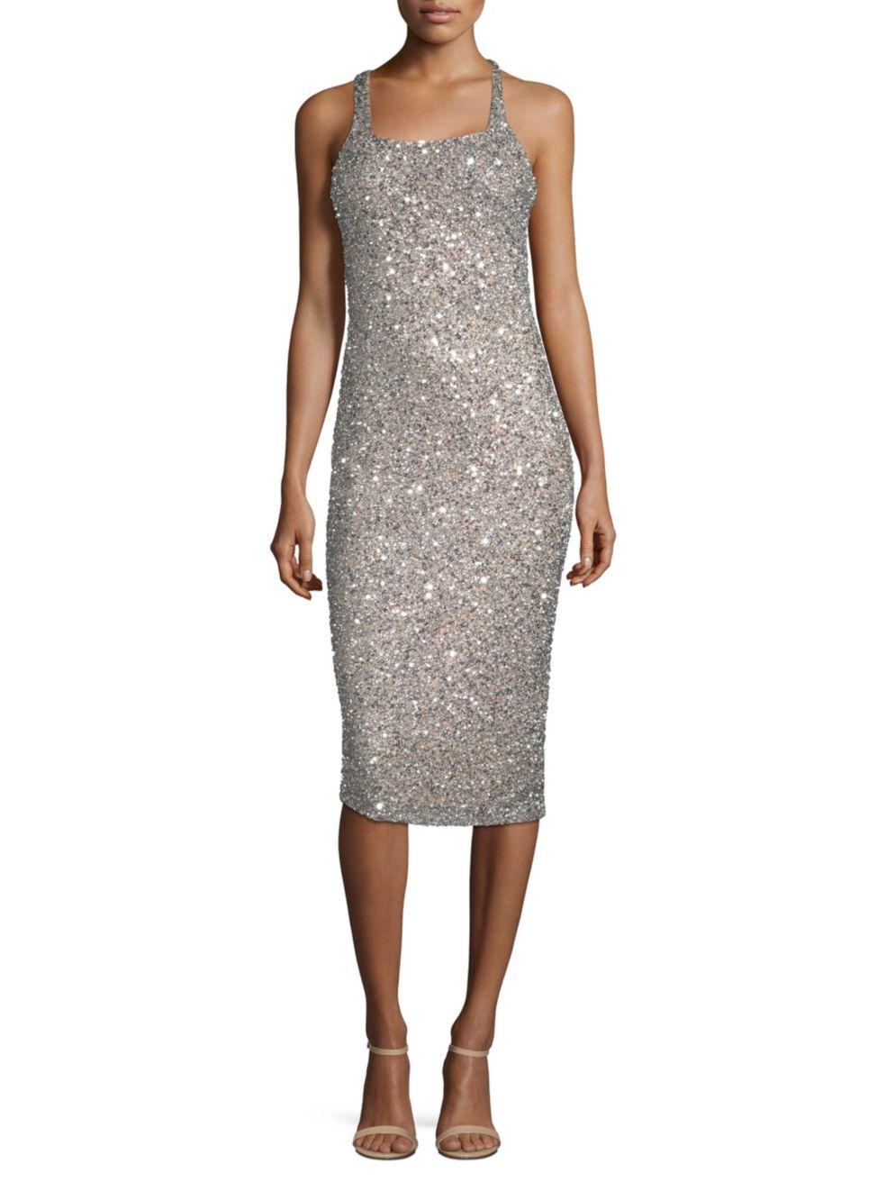 Parker Black Sage Sleeveless Sparkle Dress | SaksFifthAvenue