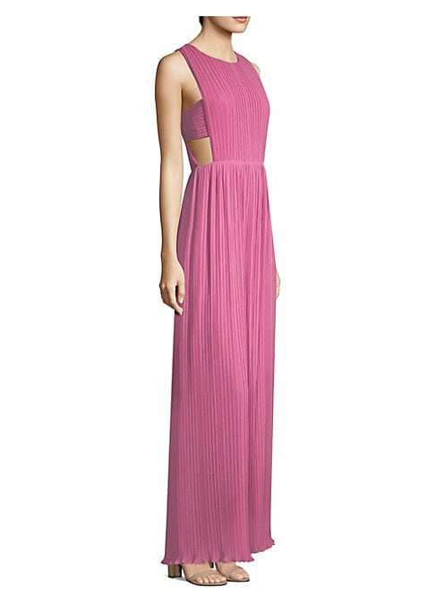 "Image of Airy chiffon gown with pleated detailing. Roundneck. Sleeveless. Side cutouts. Crisscross back. Tulip back cutout. Concealed back zip closure. About 62"" from shoulder to hem. Polyester. Machine wash. Imported. Model shown is 5'10"" (177cm) wearing US size"